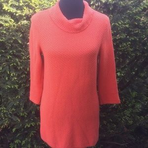 Ann Taylor LOFT Coral Tunic Sweater Cowl Neck Long